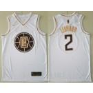 Men's Los Angeles Clippers #2 Kawhi Leonard White Gold Icon Swingman Jersey