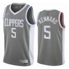 Men's Los Angeles Clippers #5 Luke Kennard Gray 2021 Earned Icon Hot Press Jersey