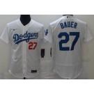 Men's Los Angeles Dodgers #27 Trevor Bauer White FlexBase Jersey