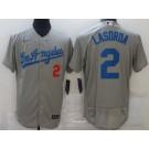 Men's Los Angeles Dodgers #2 Tommy Lasorda Gray Road FlexBase Jersey