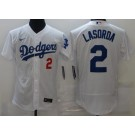Men's Los Angeles Dodgers #2 Tommy Lasorda White FlexBase Jersey