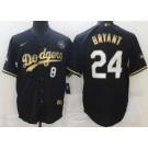 Men's Los Angeles Dodgers #8#24 Kobe Bryant Black Gold Cool Base Jersey
