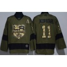 Men's Los Angeles Kings #11 Anze Kopitar Green Salute To Service Authentic Jersey