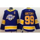 Men's Los Angeles Kings #99 Wayne Gretzky Purple 2021 Reverse Retro Authentic Jersey