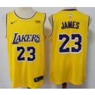 Men's Los Angeles Lakers #23 LeBron James Yellow Icon Sponsor Swingman Jersey
