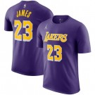 Men's Los Angeles Lakers #23 Lebron James Purple Printed T Shirt 211077