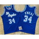 Men's Los Angeles Lakers #34 Shaquille O'Neal Blue 1996 Throwback Authentic Jersey