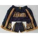 Men's Los Angeles Lakers #8#24 Kobe Bryant Black Mamba City Just Don Shorts