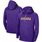 Men's Los Angeles Lakers Purple Spotlight On Court Practice Performance Pullover Hoodie