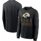 Men's Los Angeles Rams Black 2020 Salute To Service Long Sleeves T Shirt 228