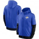 Men's Los Angeles Rams Blue Sideline Impact Lockup Performance Full Zip Pullover Hoodie