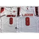 Men's Louisville Cardinals #8 Lamar Johnson White College Football Jersey