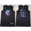 Men's Memphis Grizzlies #12 Ja Morant Black Iridescent Holographic Icon Swingman Jersey