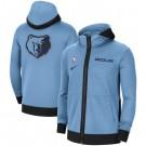 Men's Memphis Grizzlies Light Blue Showtime Performance Full Zip Hoodie Jacket