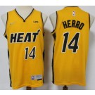Men's Miami Heat #14 Tyler Herro Yellow 2021 Earned Icon Sponsor Swingman Jersey