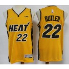 Men's Miami Heat #22 Jimmy Butler Yellow 2021 Earned Icon Sponsor Swingman Jersey
