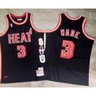 Men's Miami Heat #3 Dwyane Wade Black Commemorative Authentic Jersey