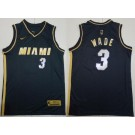 Men's Miami Heat #3 Dwyane Wade Black Gold 2021 Icon Swingman Jersey