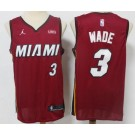 Men's Miami Heat #3 Dwyane Wade Red Red 2021 Icon Sponsor Swingman Jersey