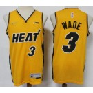Men's Miami Heat #3 Dwyane Wade Yellow 2021 Earned Icon Sponsor Swingman Jersey