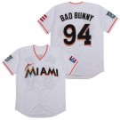 Men's Miami Marlins #94 Bad Bunny White Throwback Jersey