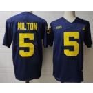 Men's Michigan Wolverines #5 Joe MIlton Navy College Football Jersey