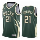 Men's Milwaukee Bucks #21 Jrue Holiday Green 2021 Earned Icon Hot Press Jersey