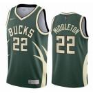 Men's Milwaukee Bucks #22 Khris Middleton Green 2021 Earned Icon Hot Press Jersey