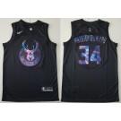 Men's Milwaukee Bucks #34 Giannis Antetokounmpo Black Iridescent Holographic Icon Swingman Jersey