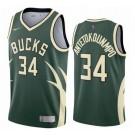 Men's Milwaukee Bucks #34 Giannis Antetokounmpo Green 2021 Earned Icon Hot Press Jersey