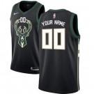 Men's Milwaukee Bucks Custom Black Icon Hot Press Jersey