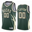 Men's Milwaukee Bucks Custom Green 2021 Earned Icon Hot Press Jersey