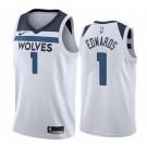 Men's Minnesota Timberwolves #1 Anthony Edwards White Icon Hot Press Jersey