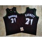 Men's Minnesota Timberwolves #21 Kevin Garnett Black 1997 Throwback Authentic Jersey
