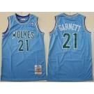 Men's Minnesota Timberwolves #21 Kevin Garnett Blue 1995 Throwback Swingman Jersey