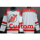 Men's New Jersey Devils Customized White Alternate Authentic Jersey