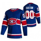 Men's Montreal Canadiens Customized Blue 2021 Reverse Retro Authentic Jersey
