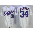 Men's Montreal Expos #34 Bryce Harper White Stripes 1982 Throwback Jersey