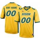 Men's NDSU Bison Customized Yellow College Football Jersey