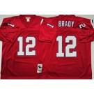 Men's New England Patriots #12 Tom Brady Red Throwback Jersey