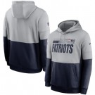 Men's New England Patriots Gray Navy Sideline Impact Lockup Performance Pullover Hoodie