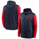 Men's New England Patriots Navy Red Fan Gear Mascot Performance Full Zip Hoodie