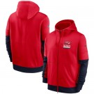 Men's New England Patriots Red Sideline Impact Lockup Performance Full Zip Pullover Hoodie