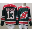 Men's New Jersey Devils #13 Nico Hischier Green 2021 Reverse Retro Authentic Jersey
