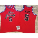 Men's New Jersey Nets #5 Jason Kidd Red 2006 Throwback Authentic Jersey