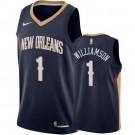 Men's New Orleans Pelicans #1 Zion Williamson Navy Icon Hot Press Jersey