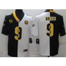 Men's New Orleans Saints #9 Drew Brees Limited Black White C Patch Split Jersey