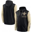 Men's New Orleans Saints Black Gold Fan Gear Mascot Performance Full Zip Hoodie