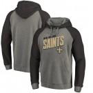 Men's New Orleans Saints Gray Slant Strike Tri Blend Raglan Pullover Hoodie