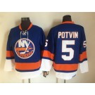 Men's New York Islanders #5 Denis Potvin Blue Retro Jersey